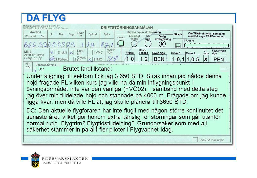 SKARABORGS FLYGFLOTTILJ 22 Brutet färdtillstånd: Under stigning till sektorn fick jag 3.650 STD.