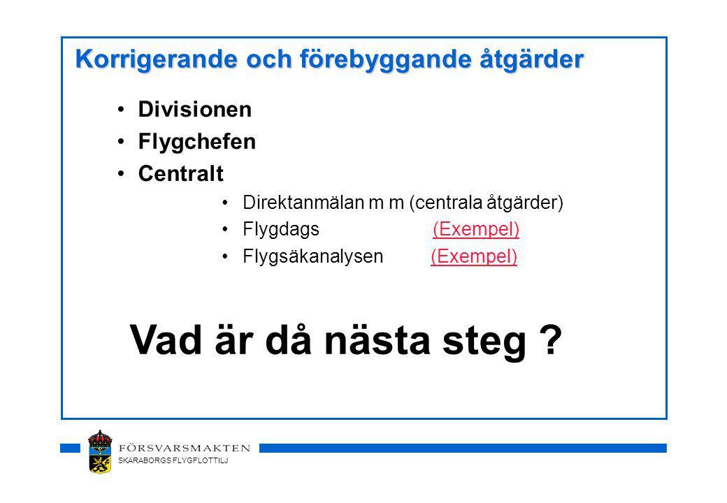 SKARABORGS FLYGFLOTTILJ Korrigerande och förebyggande åtgärder Divisionen Flygchefen Centralt Direktanmälan m m (centrala åtgärder) Flygdags (Exempel)(Exempel) Flygsäkanalysen (Exempel)(Exempel) Vad är då nästa steg