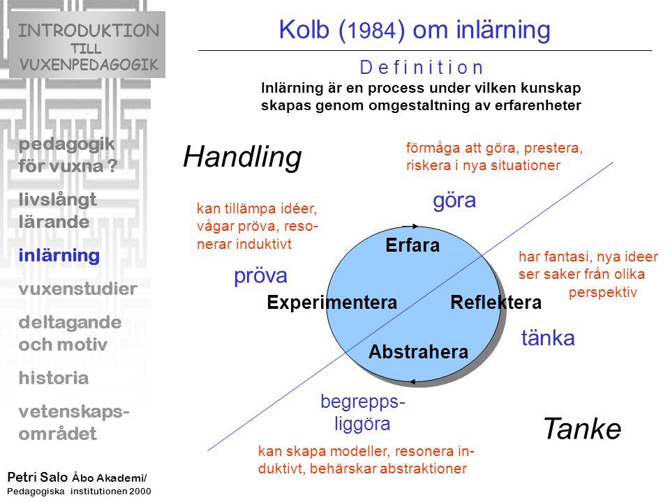 Erfara Reflektera Abstrahera Experimentera Tanke Handling D e f i n i t i o n Inlärning är en process under vilken kunskap skapas genom omgestaltning