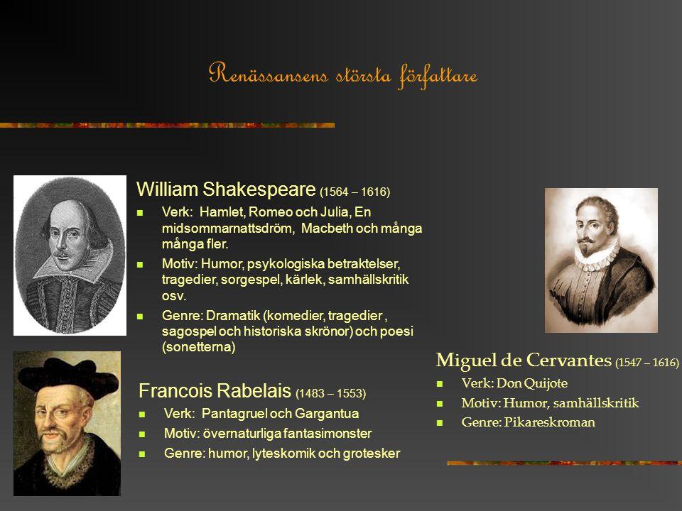 Renässansens största författare William Shakespeare (1564 – 1616) Verk: Hamlet, Romeo och Julia, En midsommarnattsdröm, Macbeth och många många fler.