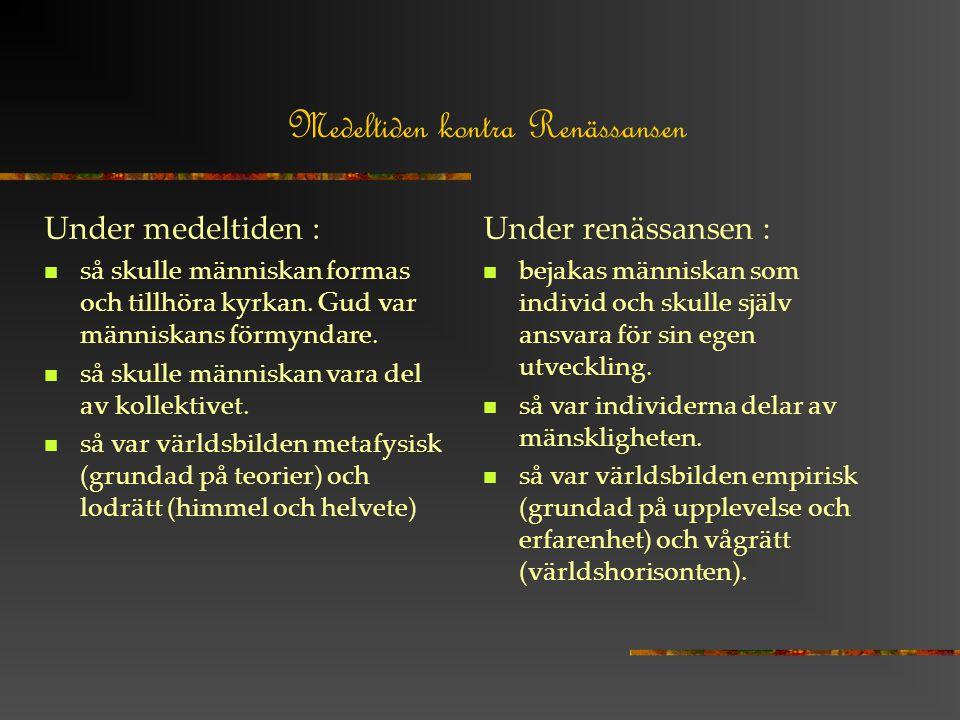 Medeltiden kontra Renässansen Under medeltiden : så skulle människan formas och tillhöra kyrkan.