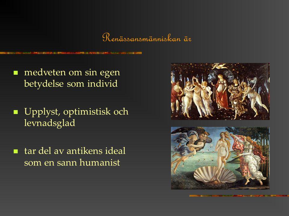 Renässansmänniskan är medveten om sin egen betydelse som individ Upplyst, optimistisk och levnadsglad tar del av antikens ideal som en sann humanist