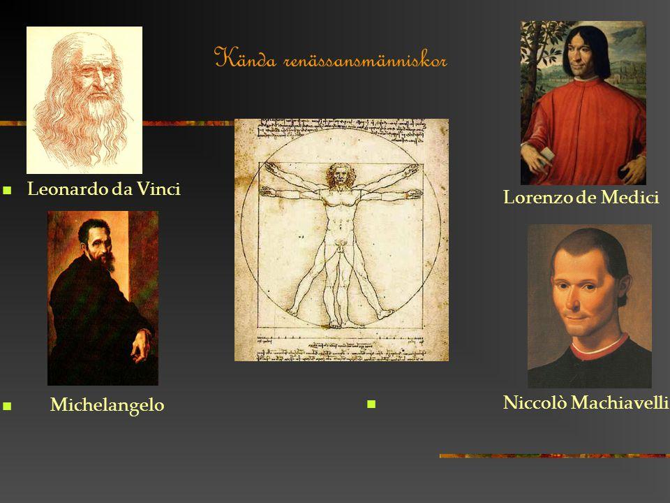 Kända renässansmänniskor Leonardo da Vinci Michelangelo Lorenzo de Medici Niccolò Machiavelli