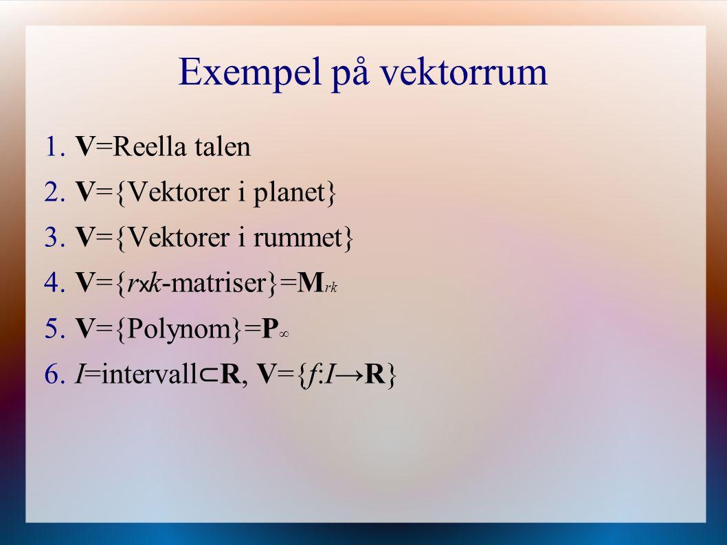 Definition 5.3.1, sid 104 Underrum En icke-tom delmängd U av ett vektorrum V kallas ett underrum av V om U själv är ett vektorrum med den addition och multiplikation med tal som definierats i V.