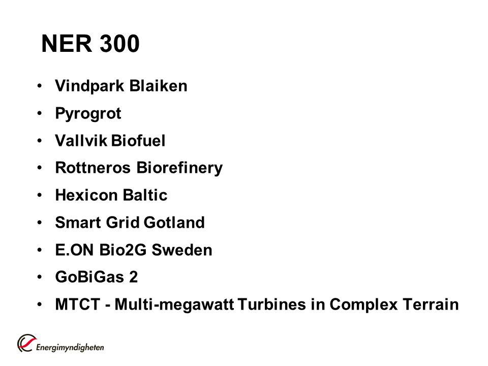 NER 300 Vindpark Blaiken Pyrogrot Vallvik Biofuel Rottneros Biorefinery Hexicon Baltic Smart Grid Gotland E.ON Bio2G Sweden GoBiGas 2 MTCT - Multi-meg
