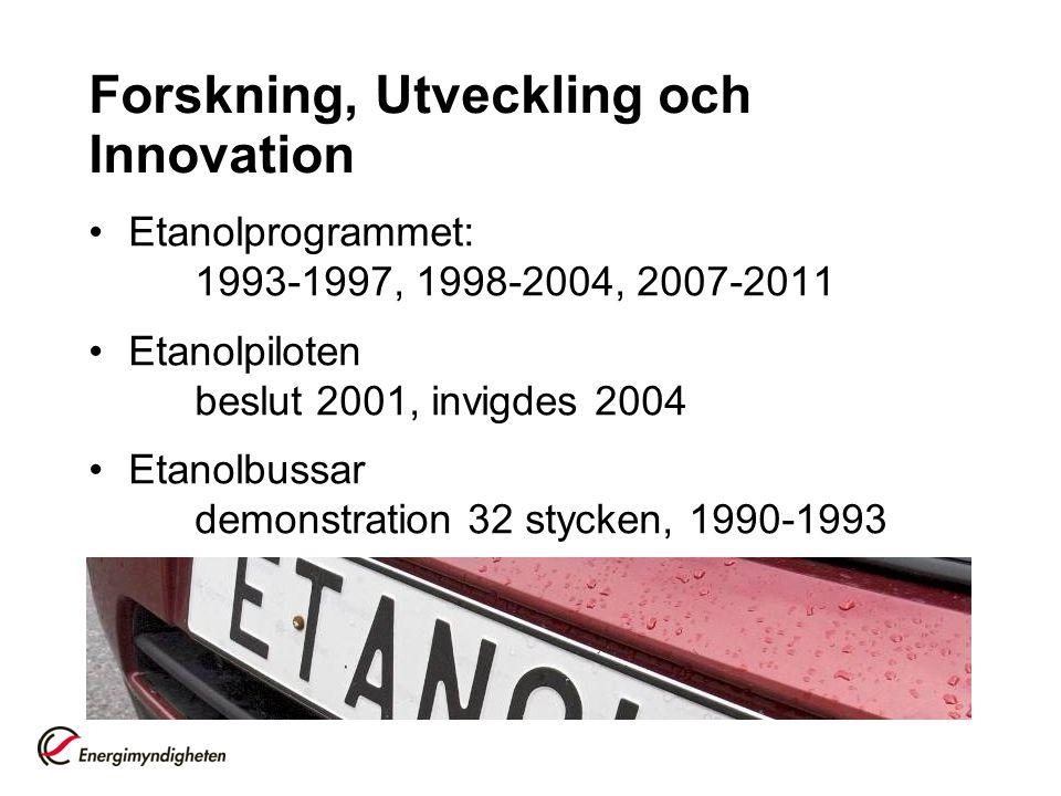 Forskning, Utveckling och Innovation Etanolprogrammet: 1993-1997, 1998-2004, 2007-2011 Etanolpiloten beslut 2001, invigdes 2004 Etanolbussar demonstra