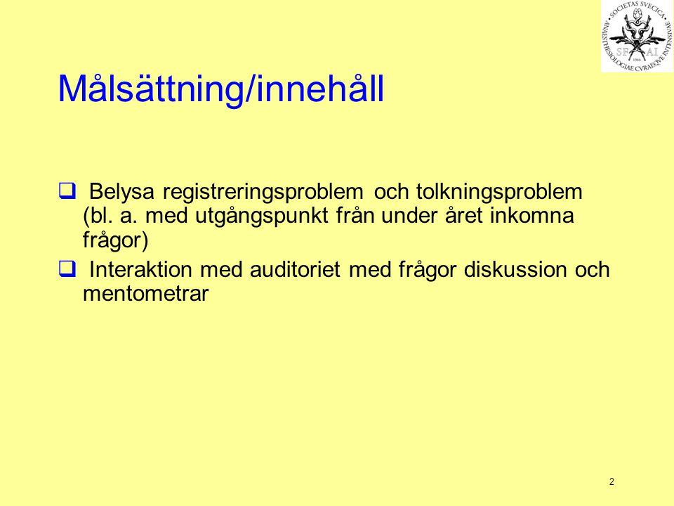 2 Målsättning/innehåll  Belysa registreringsproblem och tolkningsproblem (bl.
