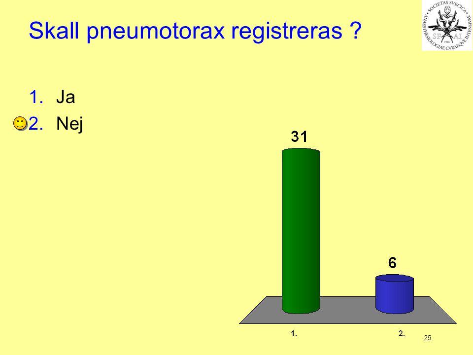 25 Skall pneumotorax registreras ? 1.Ja 2.Nej