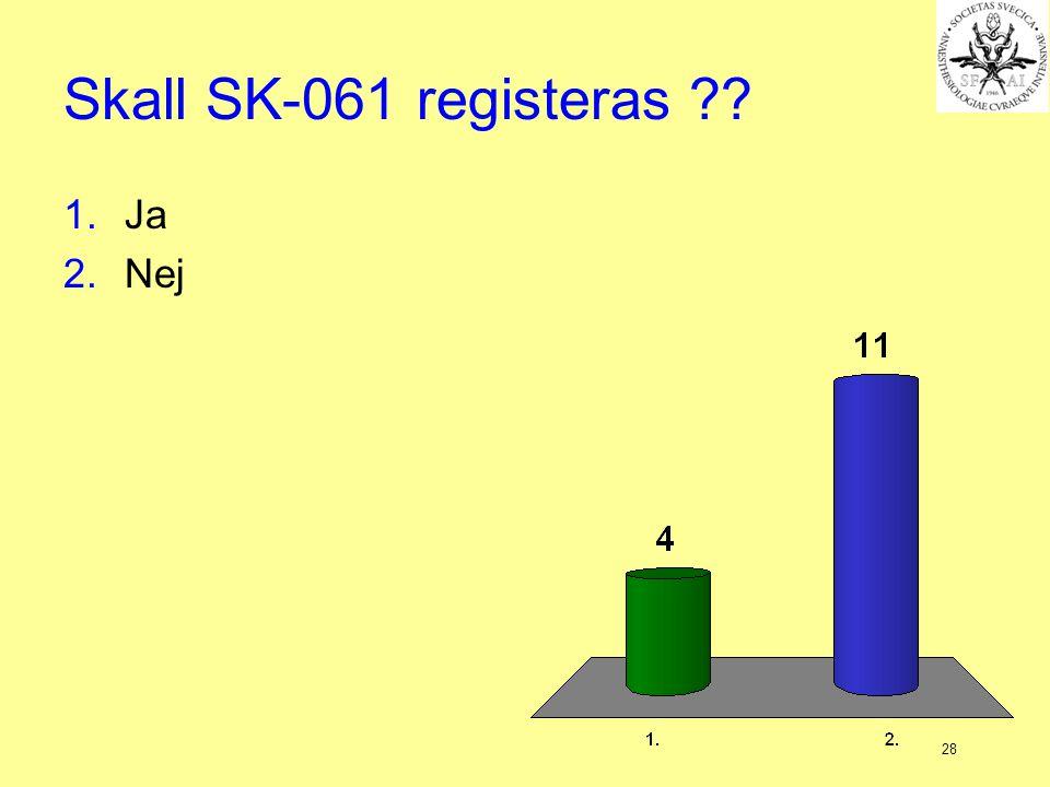 28 Skall SK-061 registeras ?? 1.Ja 2.Nej