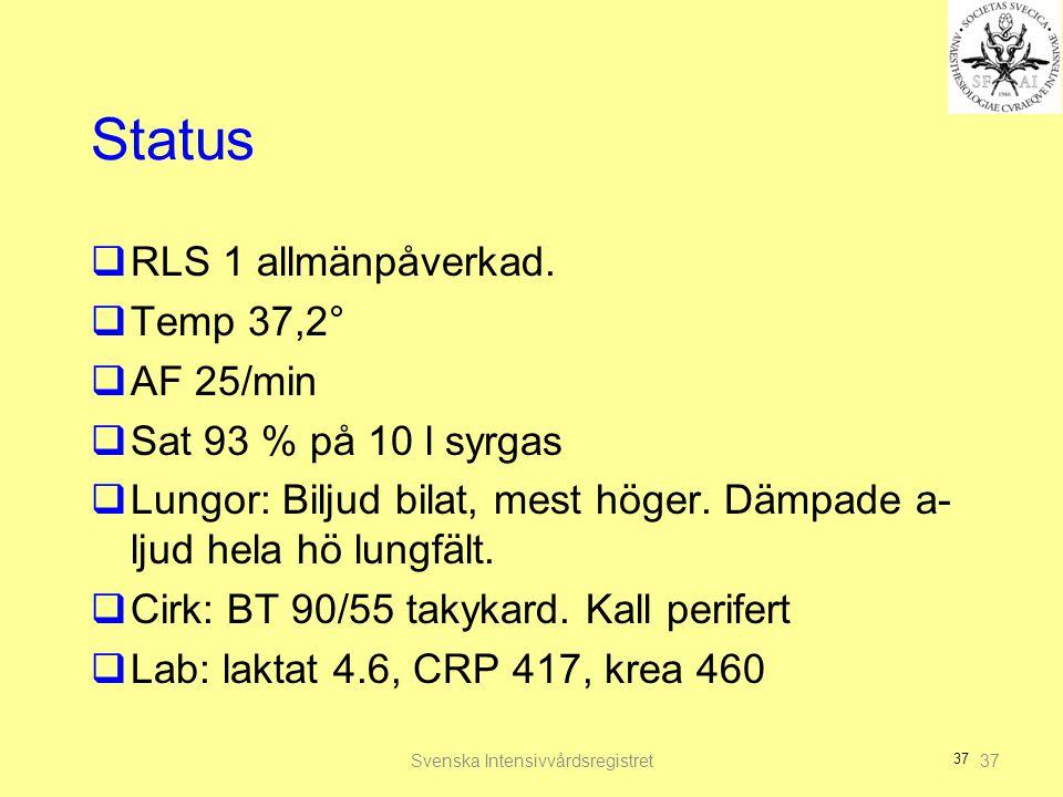 37 Status  RLS 1 allmänpåverkad.  Temp 37,2°  AF 25/min  Sat 93 % på 10 l syrgas  Lungor: Biljud bilat, mest höger. Dämpade a- ljud hela hö lungf