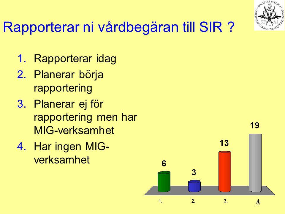 39 Rapporterar ni vårdbegäran till SIR ? 1.Rapporterar idag 2.Planerar börja rapportering 3.Planerar ej för rapportering men har MIG-verksamhet 4.Har