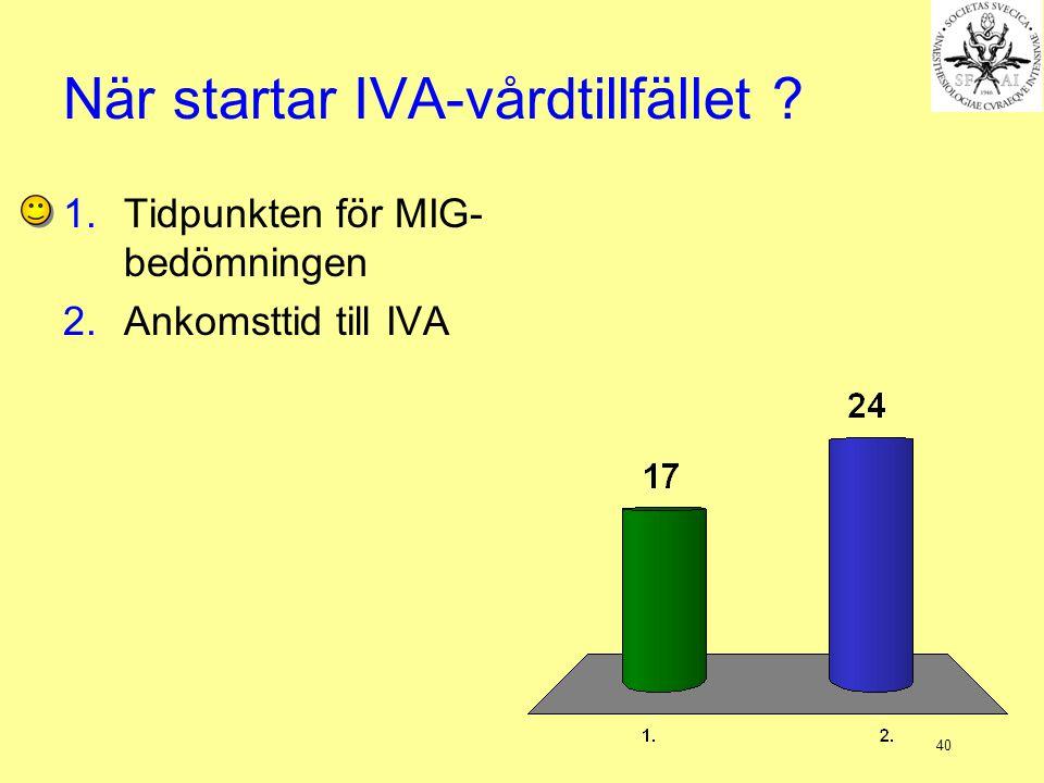 40 När startar IVA-vårdtillfället ? 1.Tidpunkten för MIG- bedömningen 2.Ankomsttid till IVA