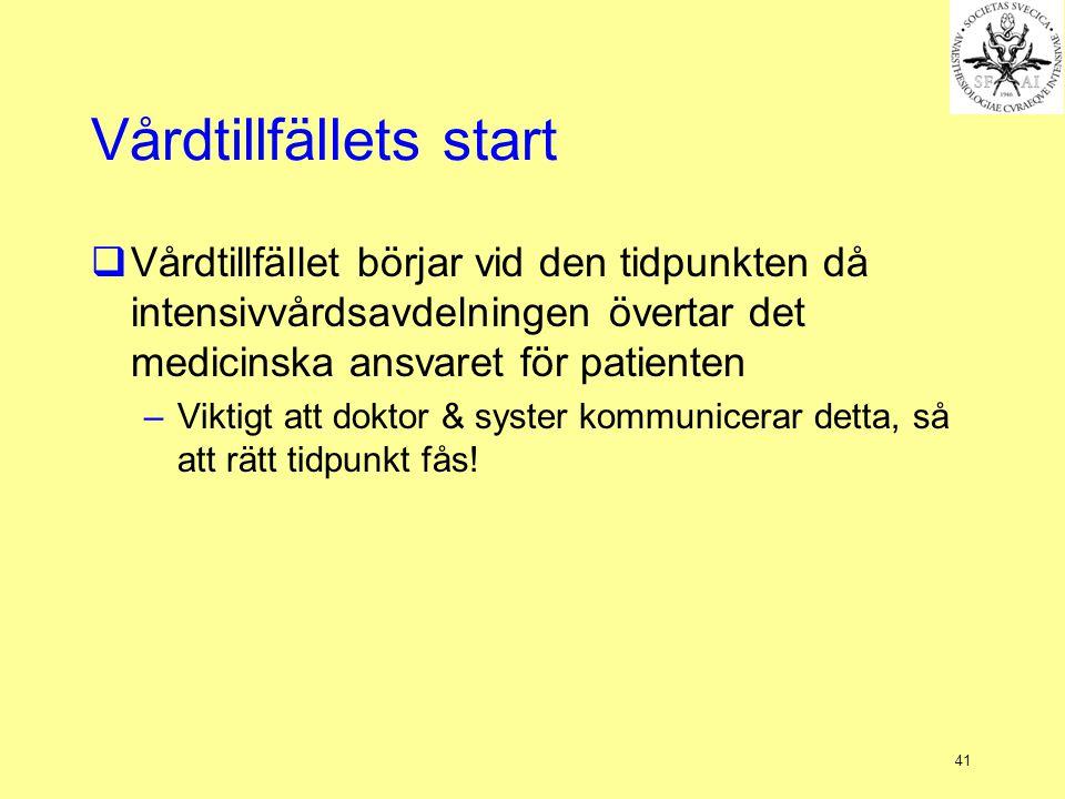 41 Vårdtillfällets start  Vårdtillfället börjar vid den tidpunkten då intensivvårdsavdelningen övertar det medicinska ansvaret för patienten –Viktigt