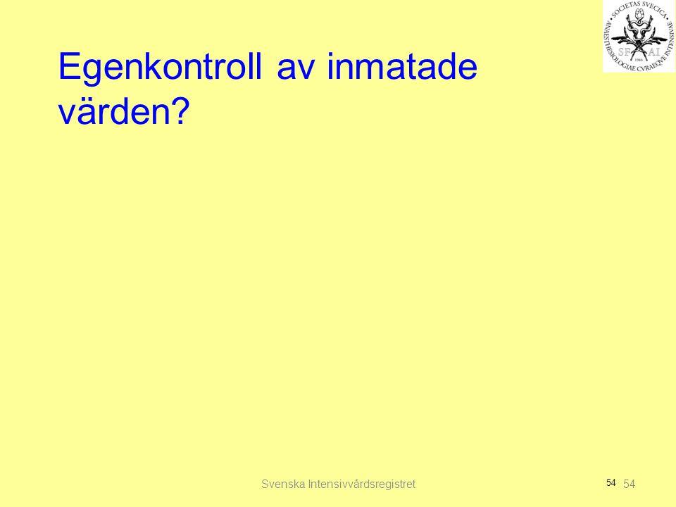 54 Egenkontroll av inmatade värden? Svenska Intensivvårdsregistret54