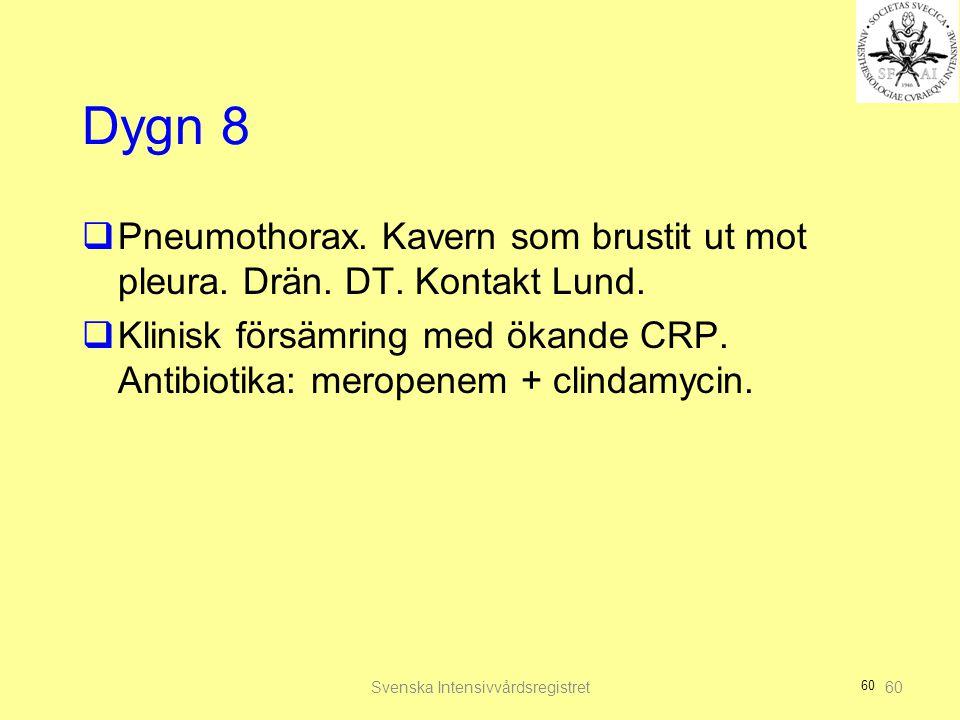 60 Dygn 8  Pneumothorax. Kavern som brustit ut mot pleura. Drän. DT. Kontakt Lund.  Klinisk försämring med ökande CRP. Antibiotika: meropenem + clin