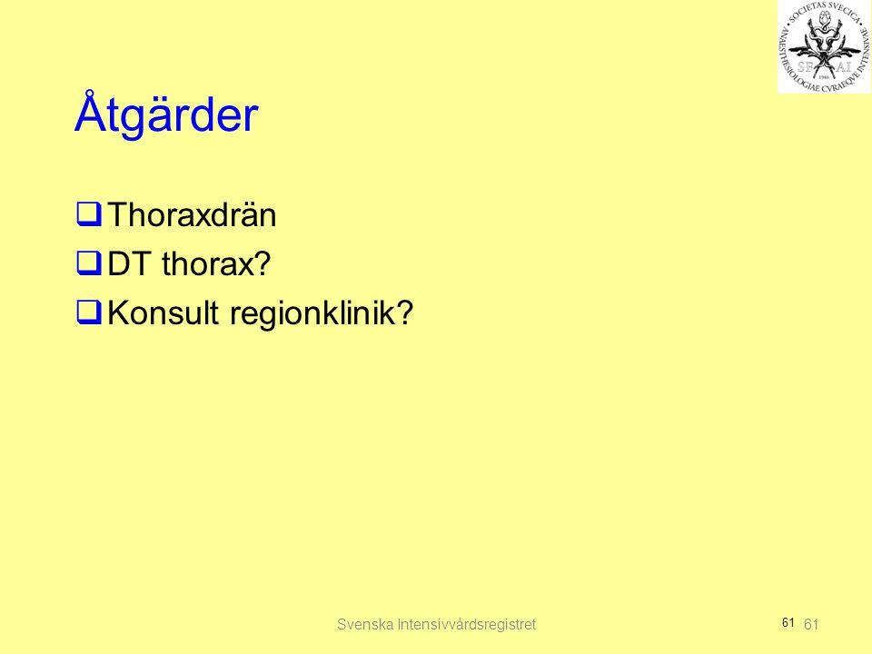 61 Åtgärder  Thoraxdrän  DT thorax?  Konsult regionklinik? Svenska Intensivvårdsregistret61