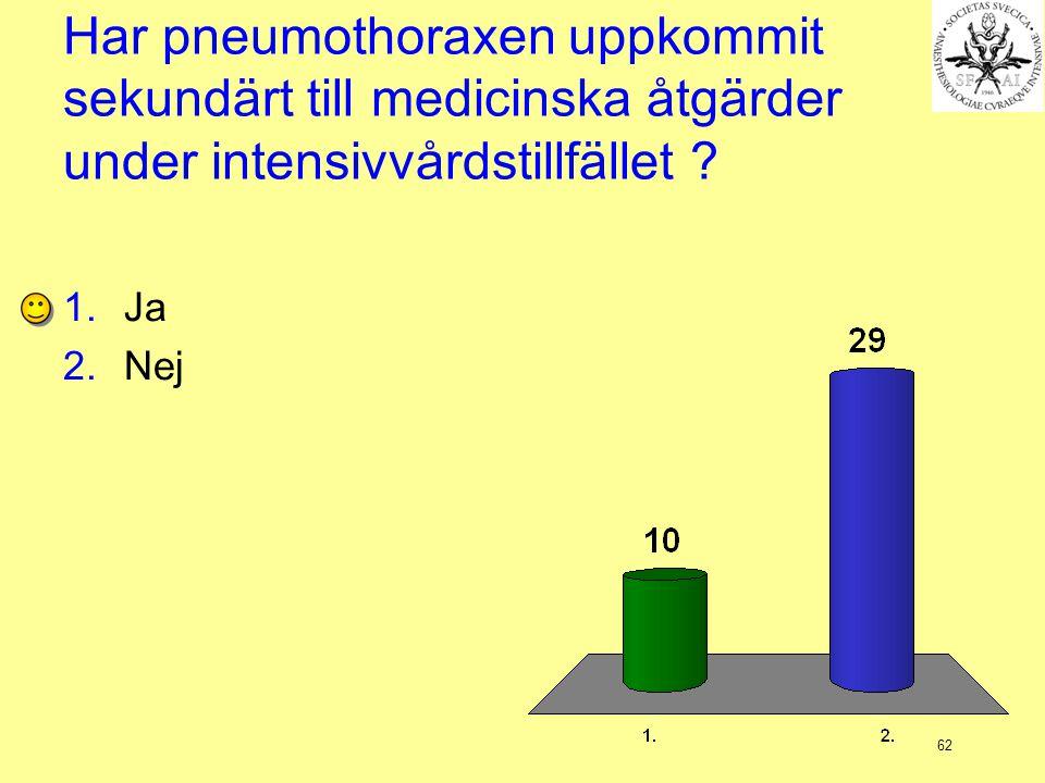62 Har pneumothoraxen uppkommit sekundärt till medicinska åtgärder under intensivvårdstillfället ? 1.Ja 2.Nej