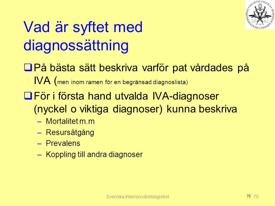 70 Vad är syftet med diagnossättning  På bästa sätt beskriva varför pat vårdades på IVA ( men inom ramen för en begränsad diagnoslista)  För i första hand utvalda IVA-diagnoser (nyckel o viktiga diagnoser) kunna beskriva –Mortalitet m.m –Resursåtgång –Prevalens –Koppling till andra diagnoser Svenska Intensivvårdsregistret70