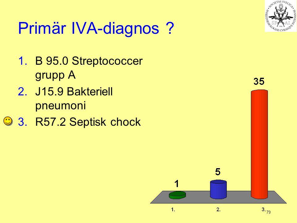 79 Primär IVA-diagnos ? 1.B 95.0 Streptococcer grupp A 2.J15.9 Bakteriell pneumoni 3.R57.2 Septisk chock