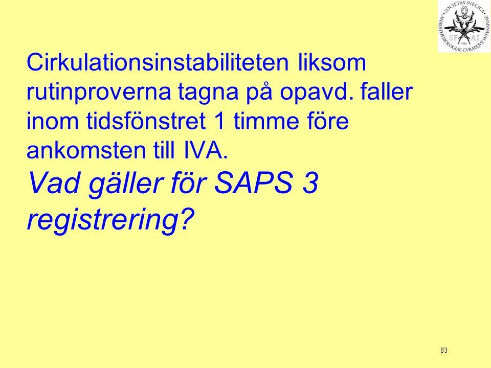 83 Cirkulationsinstabiliteten liksom rutinproverna tagna på opavd. faller inom tidsfönstret 1 timme före ankomsten till IVA. Vad gäller för SAPS 3 reg