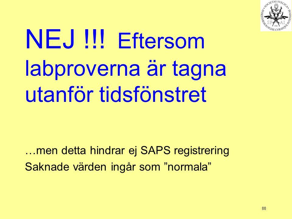 """88 NEJ !!! Eftersom labproverna är tagna utanför tidsfönstret …men detta hindrar ej SAPS registrering Saknade värden ingår som """"normala"""""""