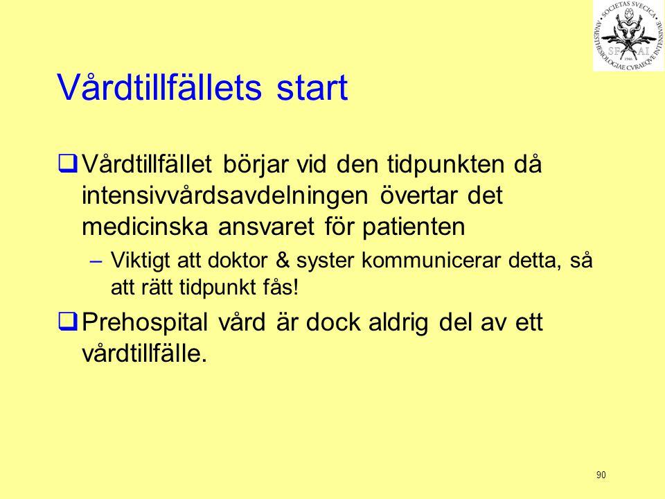 90 Vårdtillfällets start  Vårdtillfället börjar vid den tidpunkten då intensivvårdsavdelningen övertar det medicinska ansvaret för patienten –Viktigt att doktor & syster kommunicerar detta, så att rätt tidpunkt fås.