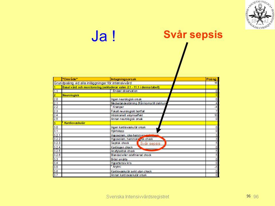 96 Ja ! Svenska Intensivvårdsregistret96 Svår sepsis