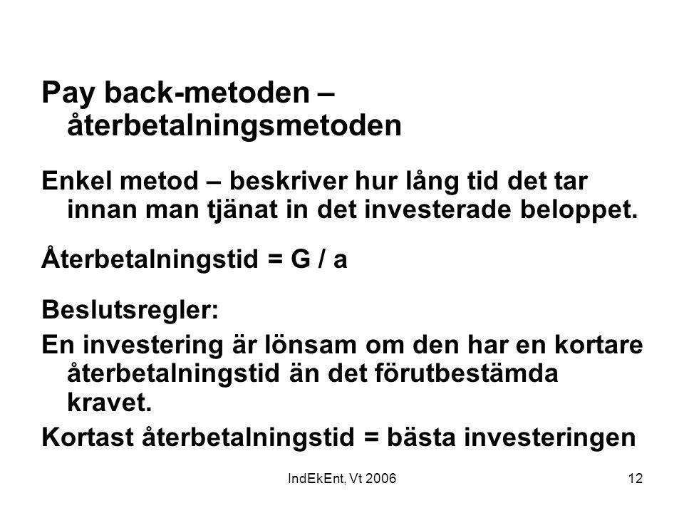 IndEkEnt, Vt 200612 Pay back-metoden – återbetalningsmetoden Enkel metod – beskriver hur lång tid det tar innan man tjänat in det investerade beloppet
