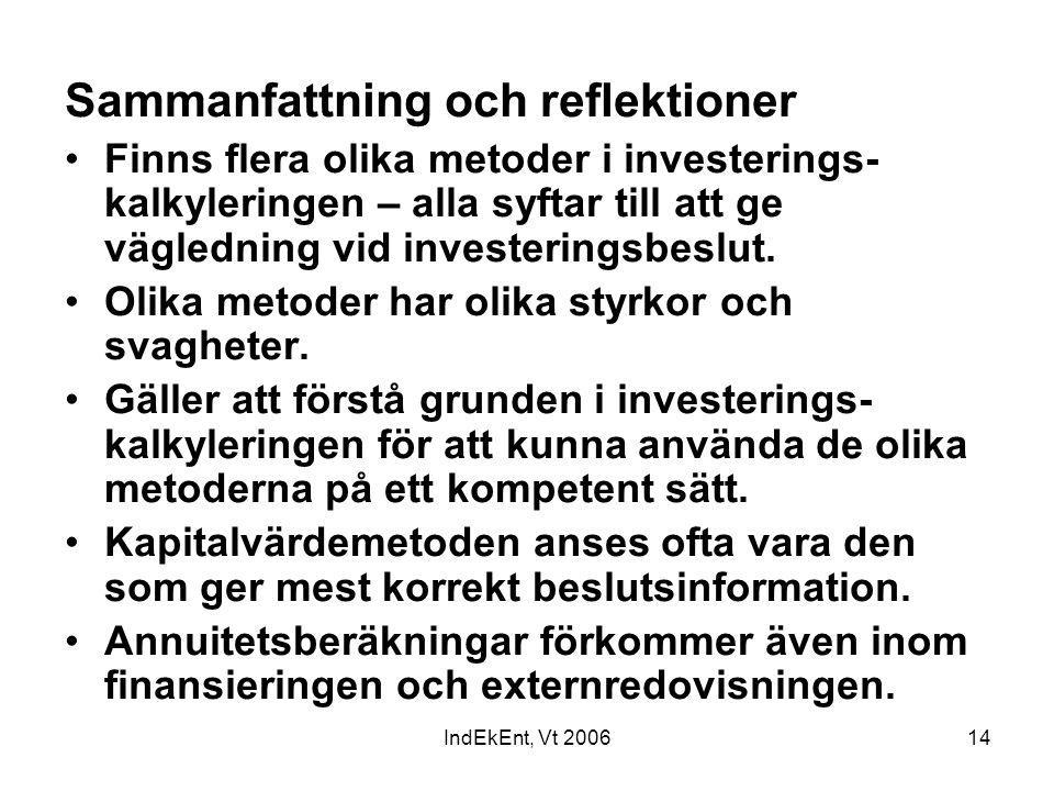 IndEkEnt, Vt 200614 Sammanfattning och reflektioner Finns flera olika metoder i investerings- kalkyleringen – alla syftar till att ge vägledning vid i
