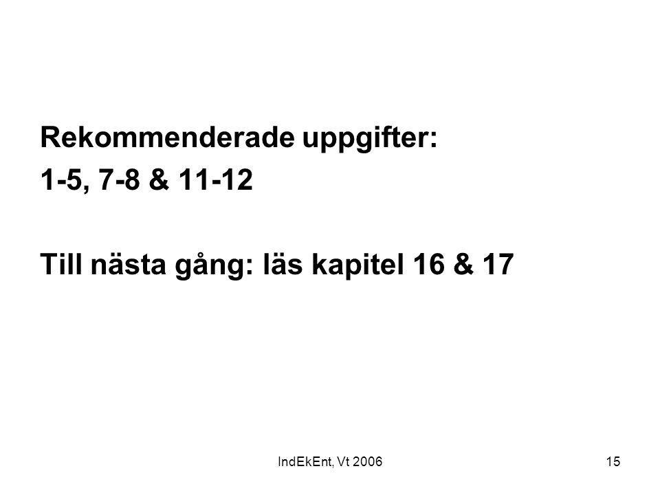 IndEkEnt, Vt 200615 Rekommenderade uppgifter: 1-5, 7-8 & 11-12 Till nästa gång: läs kapitel 16 & 17