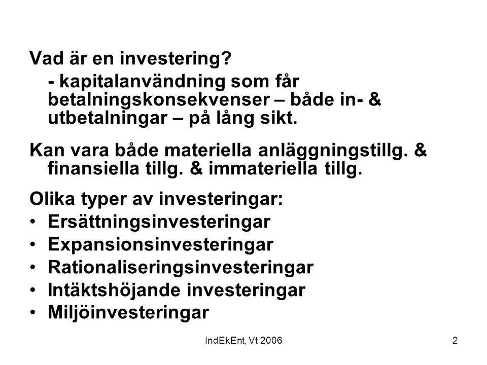 IndEkEnt, Vt 20062 Vad är en investering? - kapitalanvändning som får betalningskonsekvenser – både in- & utbetalningar – på lång sikt. Kan vara både