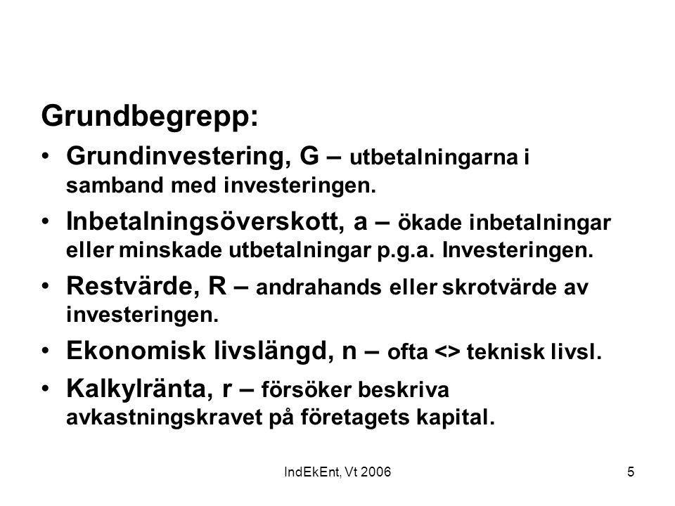 IndEkEnt, Vt 20065 Grundbegrepp: Grundinvestering, G – utbetalningarna i samband med investeringen. Inbetalningsöverskott, a – ökade inbetalningar ell