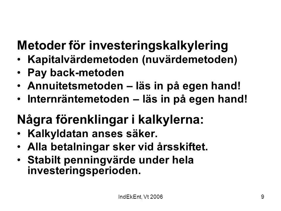 IndEkEnt, Vt 20069 Metoder för investeringskalkylering Kapitalvärdemetoden (nuvärdemetoden) Pay back-metoden Annuitetsmetoden – läs in på egen hand! I