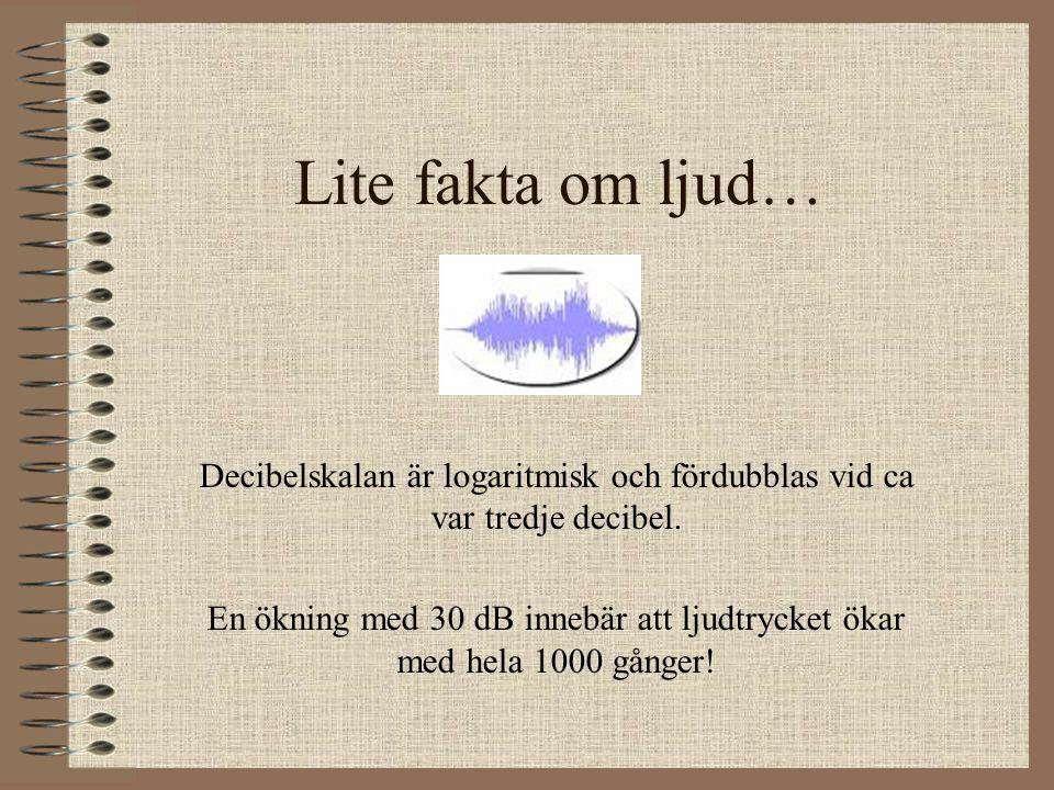 Lite fakta om ljud… Decibelskalan är logaritmisk och fördubblas vid ca var tredje decibel. En ökning med 30 dB innebär att ljudtrycket ökar med hela 1