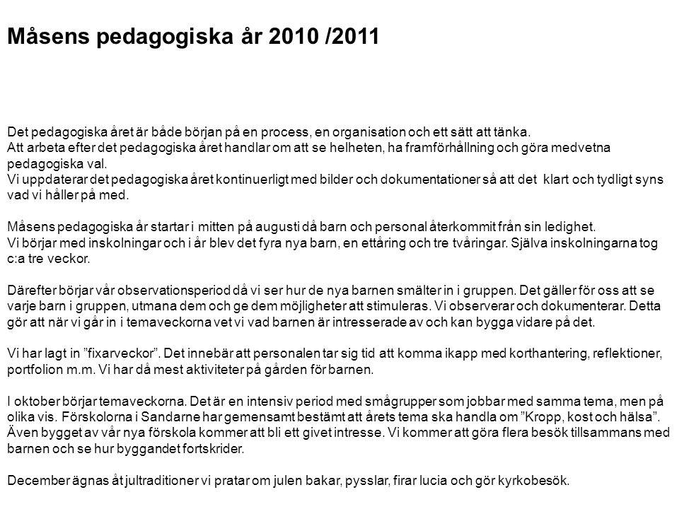 Måsens pedagogiska år 2010 /2011 Det pedagogiska året är både början på en process, en organisation och ett sätt att tänka. Att arbeta efter det pedag