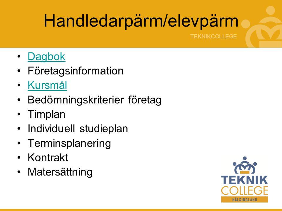 TEKNIKCOLLEGE Handledarpärm/elevpärm Dagbok Företagsinformation Kursmål Bedömningskriterier företag Timplan Individuell studieplan Terminsplanering Kontrakt Matersättning