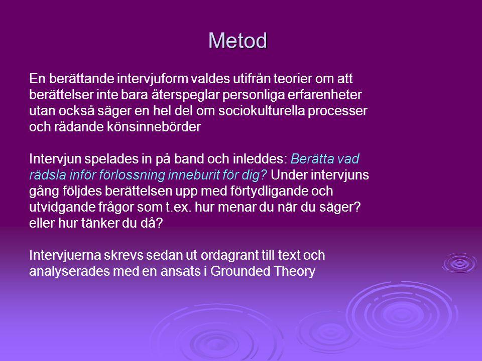 Metod En berättande intervjuform valdes utifrån teorier om att berättelser inte bara återspeglar personliga erfarenheter utan också säger en hel del o