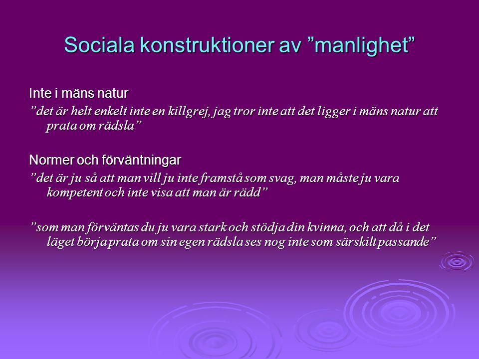 """Sociala konstruktioner av """"manlighet"""" Inte i mäns natur """"det är helt enkelt inte en killgrej, jag tror inte att det ligger i mäns natur att prata om r"""