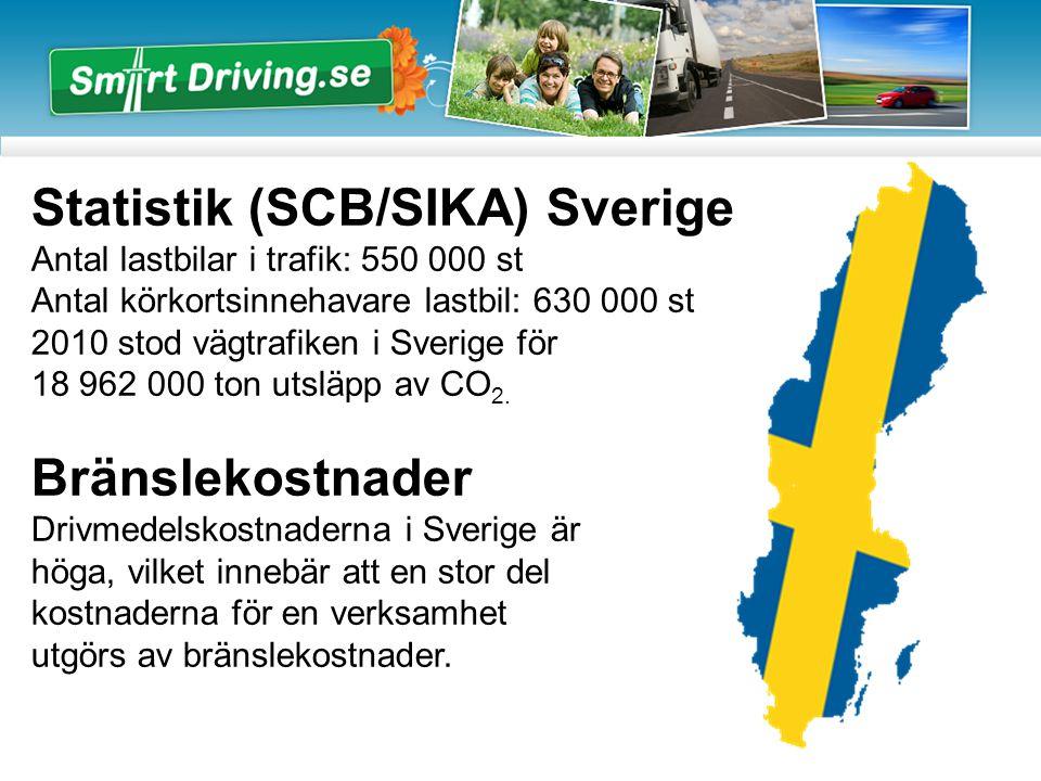 Statistik (SCB/SIKA) Sverige Antal lastbilar i trafik: 550 000 st Antal körkortsinnehavare lastbil: 630 000 st 2010 stod vägtrafiken i Sverige för 18 962 000 ton utsläpp av CO 2.