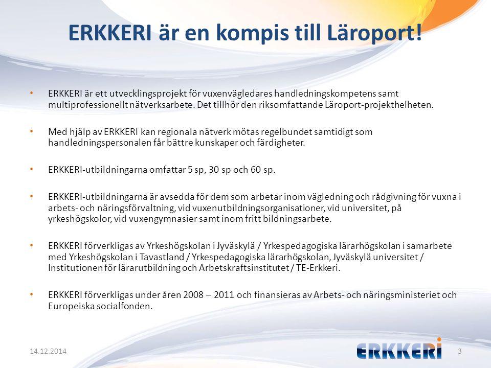 ERKKERI är en kompis till Läroport! 14.12.20143 ERKKERI är ett utvecklingsprojekt för vuxenvägledares handledningskompetens samt multiprofessionellt n