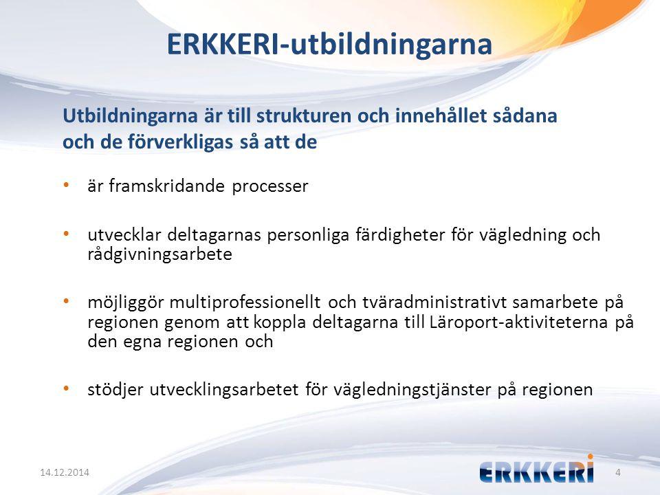 ERKKERI-utbildningarna 14.12.20144 Utbildningarna är till strukturen och innehållet sådana och de förverkligas så att de är framskridande processer ut