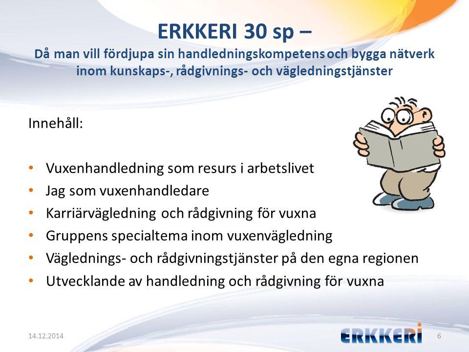 ERKKERI 30 sp – Då man vill fördjupa sin handledningskompetens och bygga nätverk inom kunskaps-, rådgivnings- och vägledningstjänster 14.12.20146 Inne