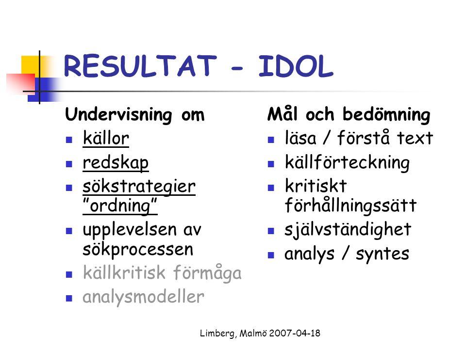 Limberg, Malmö 2007-04-18 RESULTAT - IDOL Undervisning om källor redskap sökstrategier ordning upplevelsen av sökprocessen källkritisk förmåga analysmodeller Mål och bedömning läsa / förstå text källförteckning kritiskt förhållningssätt självständighet analys / syntes