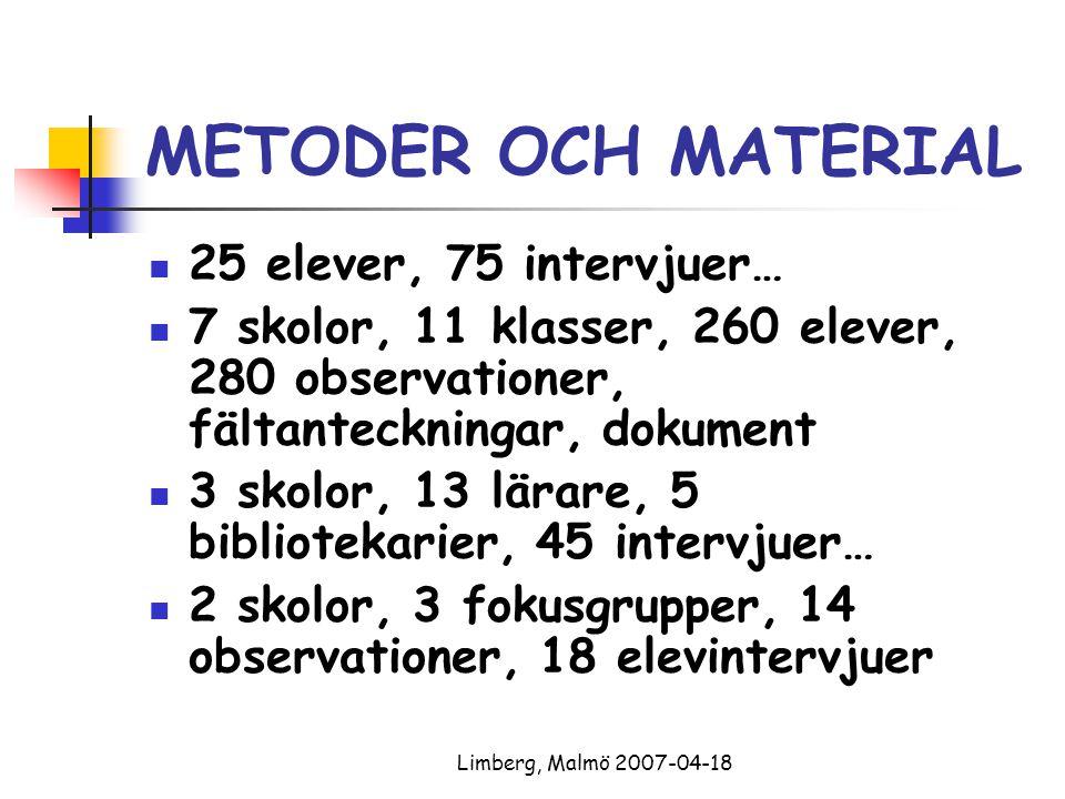 Limberg, Malmö 2007-04-18 METODER OCH MATERIAL 25 elever, 75 intervjuer… 7 skolor, 11 klasser, 260 elever, 280 observationer, fältanteckningar, dokume