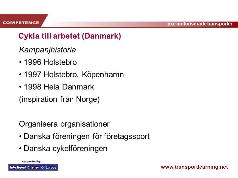 www.transportlearning.net Icke motoriserade transporter Cykla till arbetet (Danmark) Kampanjhistoria 1996 Holstebro 1997 Holstebro, Köpenhamn 1998 Hel