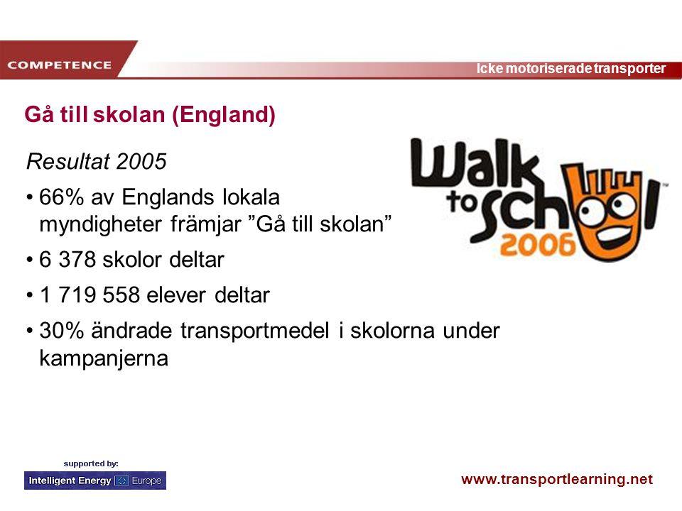 """www.transportlearning.net Icke motoriserade transporter Gå till skolan (England) Resultat 2005 66% av Englands lokala myndigheter främjar """"Gå till sko"""