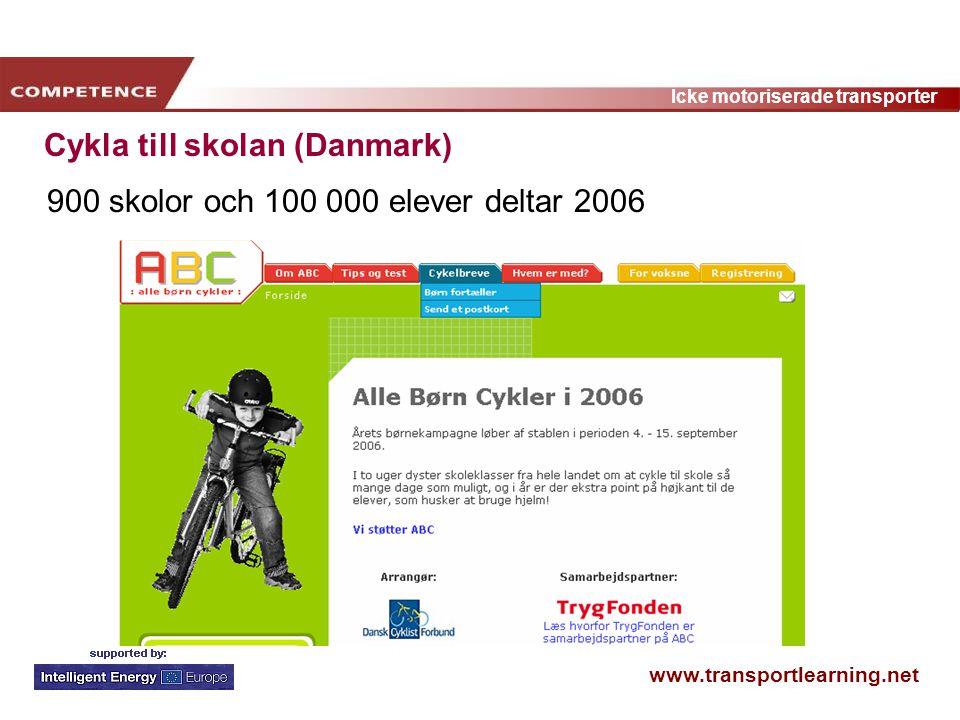 www.transportlearning.net Icke motoriserade transporter Cykla till skolan (Danmark) 900 skolor och 100 000 elever deltar 2006