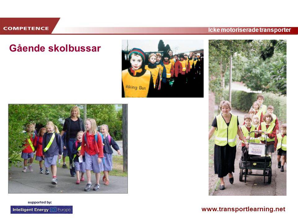 www.transportlearning.net Icke motoriserade transporter Gående skolbussar