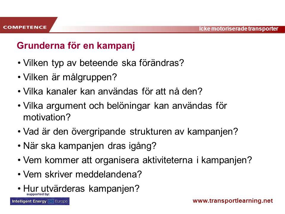 www.transportlearning.net Icke motoriserade transporter Grunderna för en kampanj Vilken typ av beteende ska förändras? Vilken är målgruppen? Vilka kan