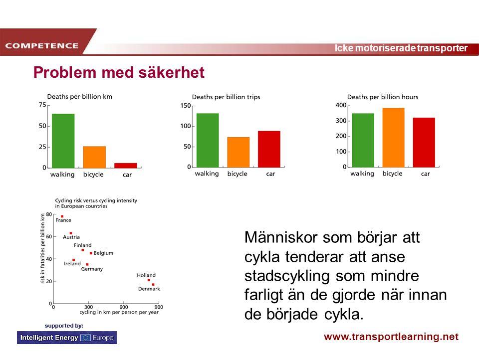 www.transportlearning.net Icke motoriserade transporter Problem med säkerhet Människor som börjar att cykla tenderar att anse stadscykling som mindre
